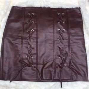 NWOT Shinestar Faux Leather Skirt- Size L
